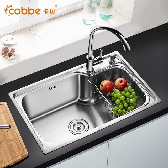 Single Sink Kitchen Fluorescent Light Covers Modern Brushed Stainless Steel With Faucet Shining Set For Rectangular Cobbe C58a
