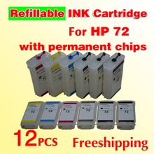 wholesale for HP72 refillable ink cartridge (with permanent chips) for designjet T610 T770 T790 T1100 T2300