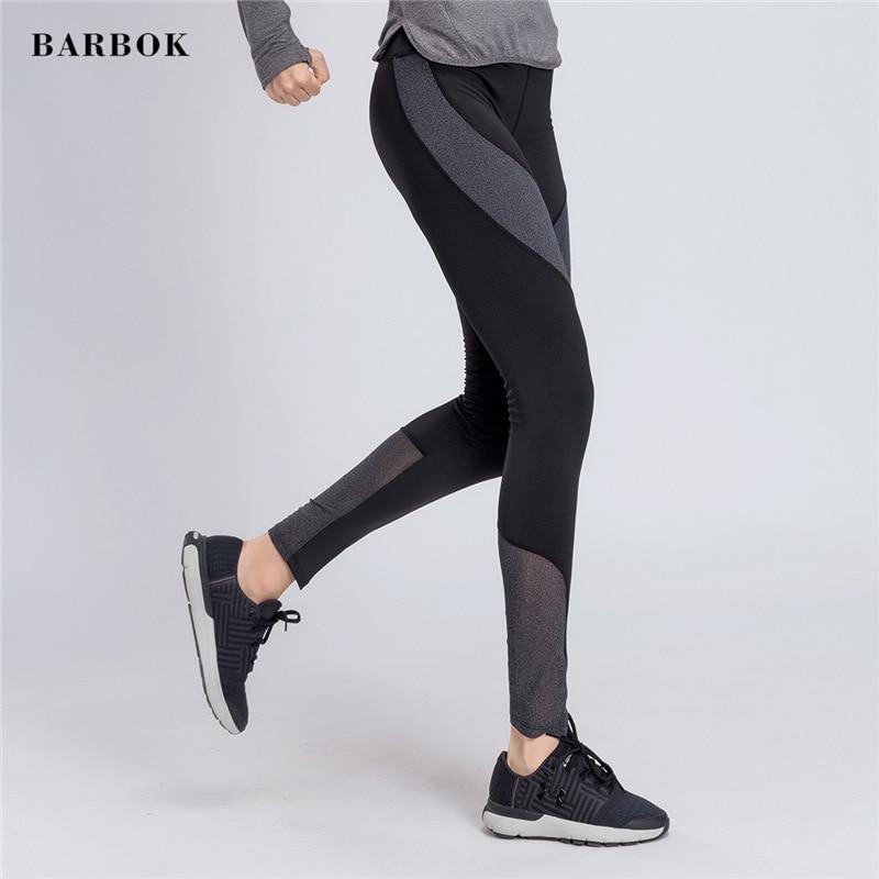 BARBOK Yoga Pants Women Sport Pants Mesh Yoga Leggings Sexy Trainning Pant Slim Tight Football Fitness Patchwork Bike Leggings