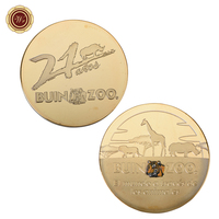 WR Festival Souvenir Gifts 24k Gold Plated Cute Animal Souvenir Coins African Wild Life Challenge Coin for Collection