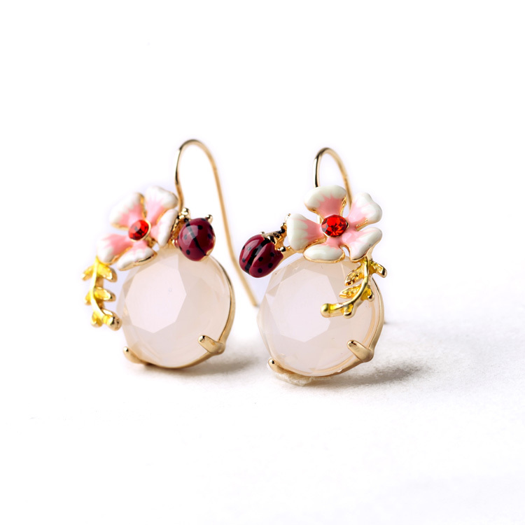 2015 Summer New Design Sweet Earring Enamel Flower Ladybug Round Gem Earring Drop Pendek Untuk Wanita