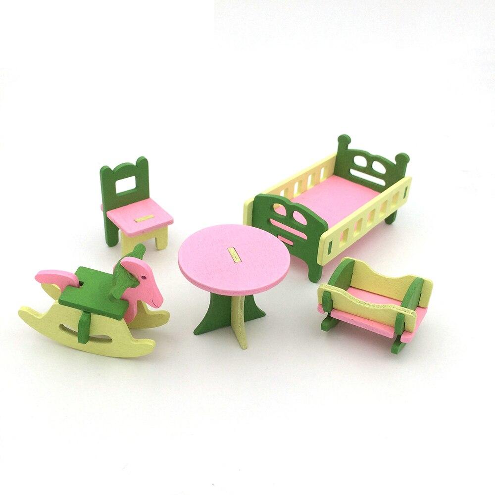 100% Waar 1:12 Poppenhuis Miniatuur Meubels Houten Babykamer Meubels Speelgoed Bureau Kast Bed Schommelstoel Set Voor Poppenhuis Decor