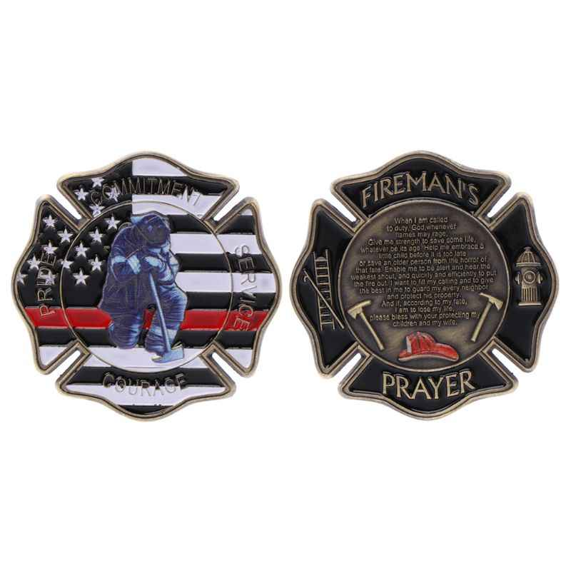 Legering Art Charms Decoratie Thuis Ornamenten Brandweerman Bidden Herdenkingsmunt Firefighter Collection Souvenir Munten Geschenken