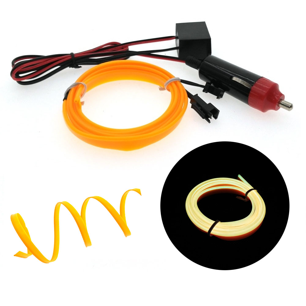 Auto tv-verlichting 6mm Naaien Rand Neon Light Auto Decor Licht Flexibele EL Draad touw Buis LED Strip Auto Sigarettenaansteker Plug