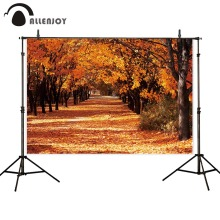 Allenjoy photographic backgrounds golden trees leaf road nature autumn scenery for photography studio backdrop photophone
