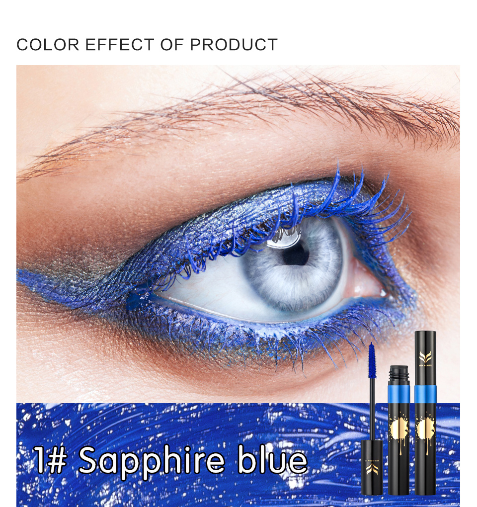 HUAMIANLI Colorful Green Blue Mascara Waterproof Lengthening Curling Eye Lashes Silicone Women Professional Makeup 3D Mascara 7