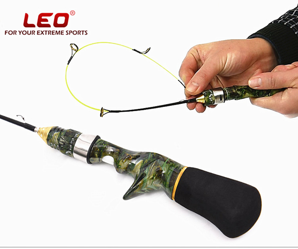 Leo professional 50cm type ice fishing rods pole fish rod for Fiber in fish