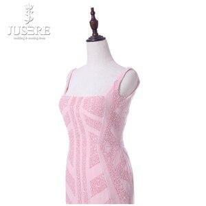 Image 5 - Rosa Correias Decote Quadrado Chá Comprimento Abrir Low Back Contas Padrão Especial de Corte Curto Mulheres Vestido Ocasional Vestido de Baile Vestidos de 2018