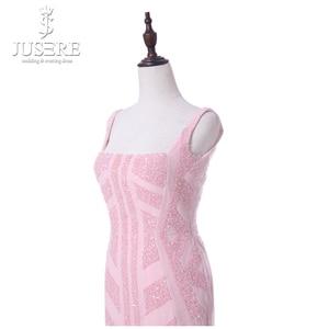Image 5 - Vestido Casual corto de mujer de corte especial con tiras rosadas cuello cuadrado longitud de té abierto espalda baja cuentas patrón vestidos de graduación 2018