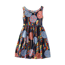 AmzBarley Summer Girls Dress Cotton Casual clothing Toddler girl sleeveless Floral Dresses kids Cartoon Printed Clothes