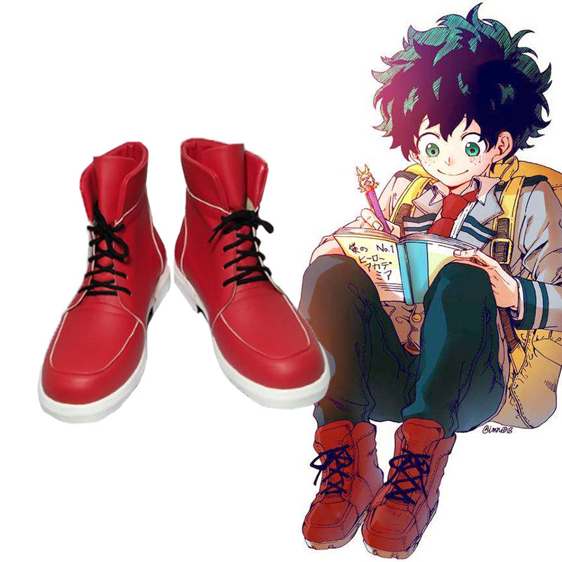 Boku No Hero Academia Shoes Izuku Midoriya Cosplay Shoes My Hero Academia Red Boots Fashion Leisure Cartoon PU Leather Shoes