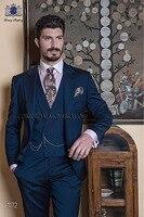 2017 Последние Пальто Пант дизайн итальянский Темно синие мужской костюм для выпускного TERNO Slim Fit Тощий 3 предмета пользовательские жениха Бле