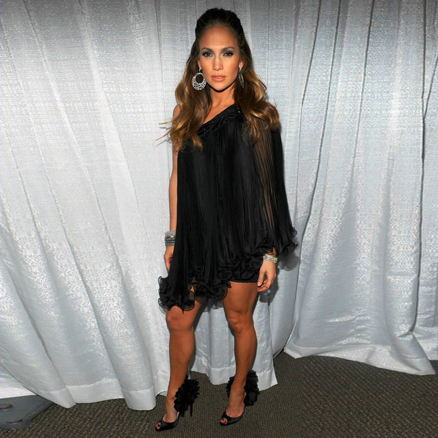 Jennifer Lopez Red Carpet Dresses Scalloped One Shoulder Short Black Chiffon Evening Celebrity Dresses