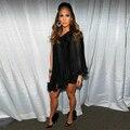 Jennifer Lopez alfombra roja vestidos festoneado de un hombro a corto gasa negro celebridad de la tarde vestidos