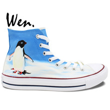 Wen Design Custom Hand Painted Sneakers Penguin Men Women's High Top Canvas Shoes Christmas Birthday Gifts