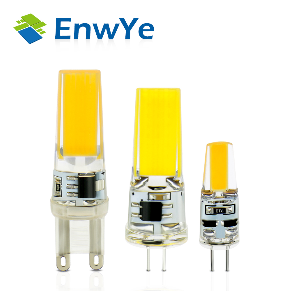 EnwYe LED G4 G9 Lamp Bulb AC/DC Dimming 12V 220V 6W 9W COB SMD LED Lighting Lights replace Halogen Spotlight Chandelier