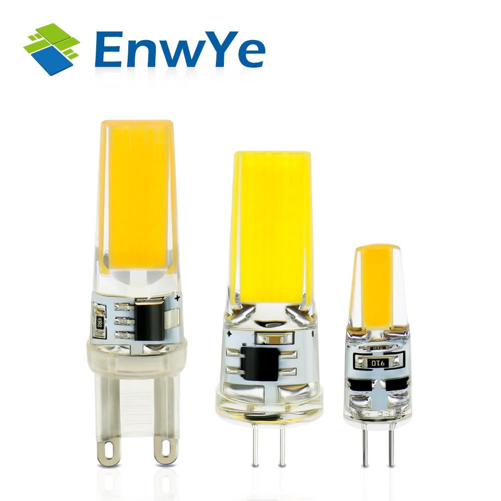 Enwye LED G4 G9 Лампа AC/DC затемнения 12 В 220 В 3 Вт 6 Вт COB SMD светодиодное освещение светильники заменить галогенные фары люстры