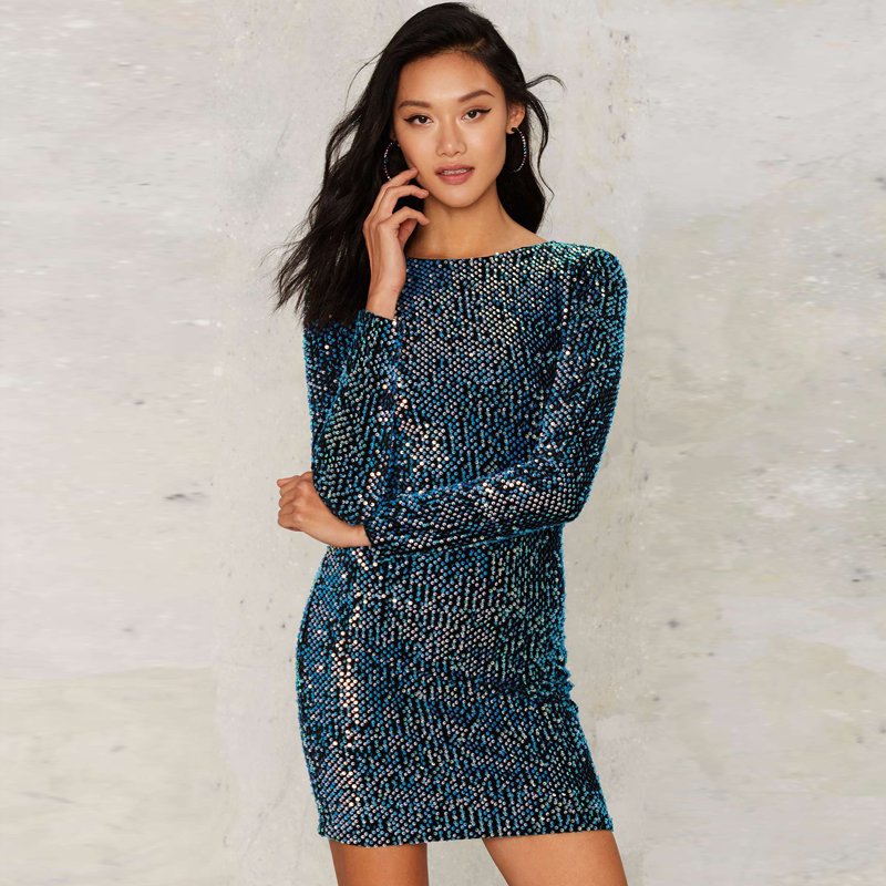 Blue long sleeve sequined mini bodycon dress for women open back sexy skinny dress ladies slim fit bling bling party dresses