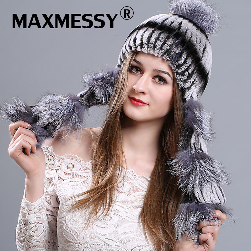 MAXMESSY Winter Fur Hats For Women Rex Rabbit Fur With Fox Fur Pom Poms Ear Protect Warm Winter Bomer Hat Fur Hats