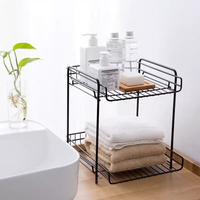 Removable Iron Art Makeup Organizer Two Layers Cosmetic towel Lipstick Organizer Makeup Storage Organizer Box Bathroom Table