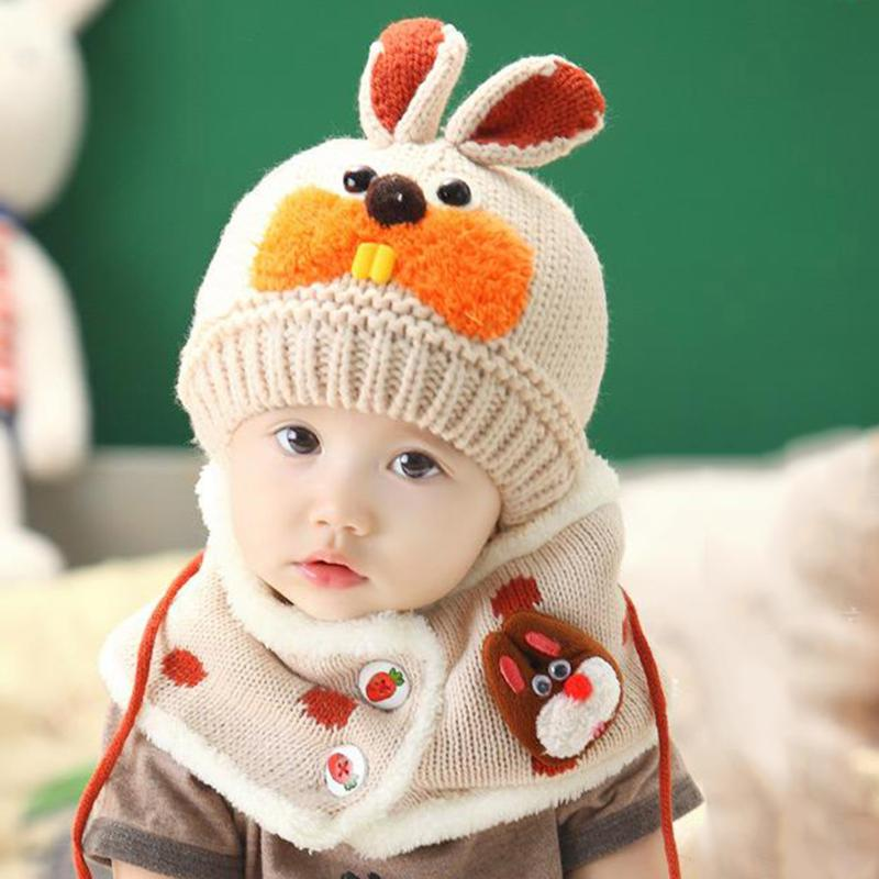 2pcs/set Winter Toddler Baby Knitted Hat and Scarf Set Kids Cute Rabbit Knitting Skullies Hats Fashion Children Beanies Caps