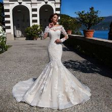 WALK BESIDE YOU Mermaid Wedding Dress Sleeves Sweep Train