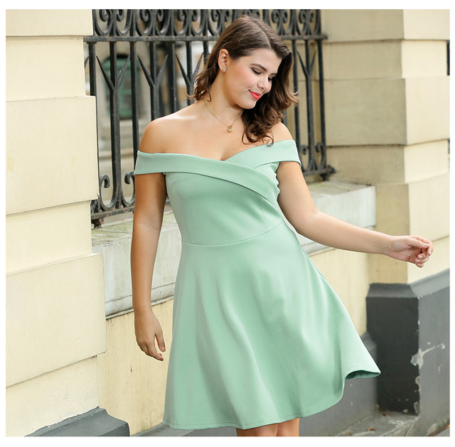 Women s Plus Size Knitted Party Dress Mint Green Black Spring Summer Off  Shoulder A-line Cocktail Formal Short Gown Shawls a4e4bb8aa10a