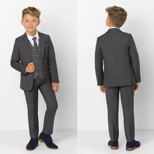 Темно-серый лацкан с тупым углом Детские костюмы модная детская одежда, комплект для мальчиков, официальные, выпускные костюмы(пиджак+ штаны+ галстук+ жилет