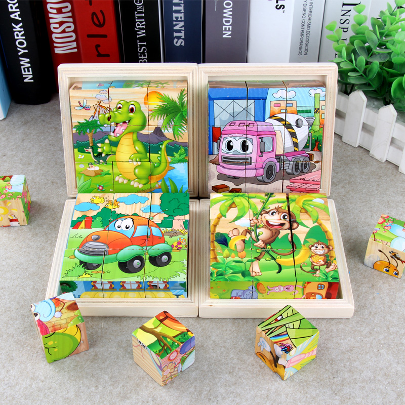 3D Puzzle Cube Kids Educational Toys For Children Wooden Jigsaw Six Face Painting Building Puzzle Animals