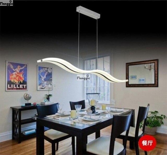 Gratis Verzending Wit Acryl LED Kroonluchter Wave Design Eetkamer ...
