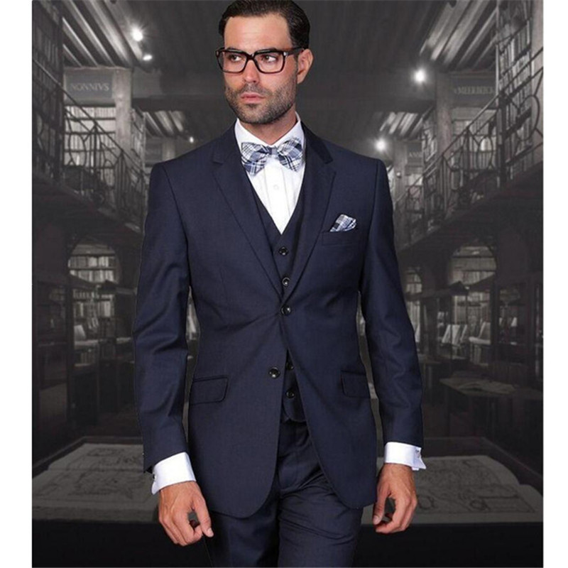 Navy Blue Men's Wedding Suits Groom Tuxedos Formal Bridegroom Business Party Suit Two Buttons (Jacket+Pants+vest)
