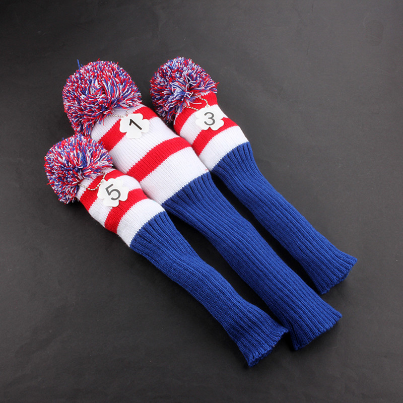 Golf Headcover Wool Pompom Golf Head Cover Knit Head Covers For Golf Club Driver Fairway Wood Free Shipping