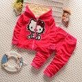 2016 new Baby Meninas define vestuário Crianças hoodies primavera outono roupas definir crianças esporte conjunto agasalho casaco + Calças do bebê 2 Pcs