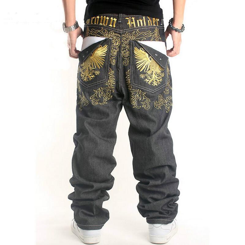 все цены на Hip Hop Jeans Men 2016  New Fashion Eagle Embroidery Men Jeans Loose Straight Pants Street Dance Jeans Male Big Size онлайн