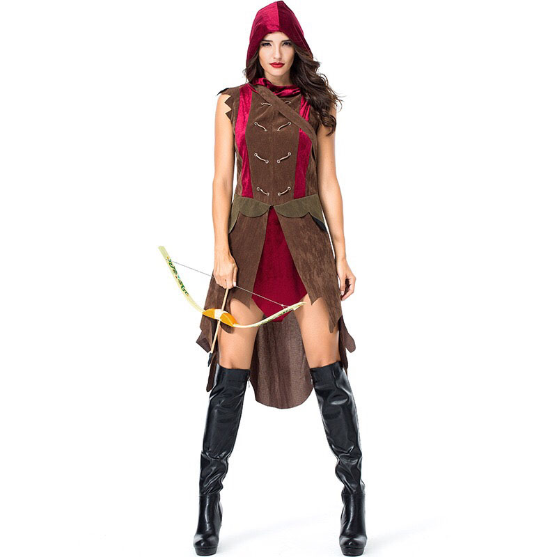 Adult Women Archer Archer Miss Robin Warrior Solider Larp Hood Costume Vintage Huntress Cosplay Dress Outfit Clothing For Ladies