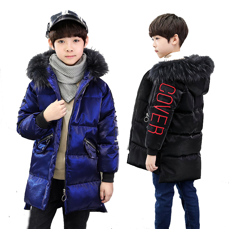 -30 degree winter 2019 New Fashion Fur Collar Children Winter Jacket Boys Velour Outerwear & Coats Long Thick Cotton-Padded new winter fashion large fur collar cotton parkas thick women cotton padded jacket solid color zipper long sleeve wadded coats