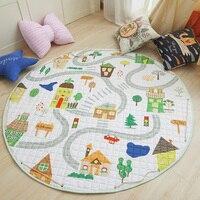 Animal Print Round Kids Rug Toys Developing Mat Children's Carpet Fox Car Infant Carpet Cotton Child Playmat Storage Bag Toys