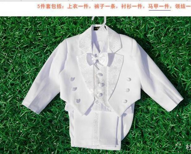 Baby Boys Wedding Formal Party Tuxedo Suits Jacket+Pants+Bow Tie+Vest+Shirts Boy Suit 5pcs/set For 1-3 Ages DHL Free 4sets/Lot