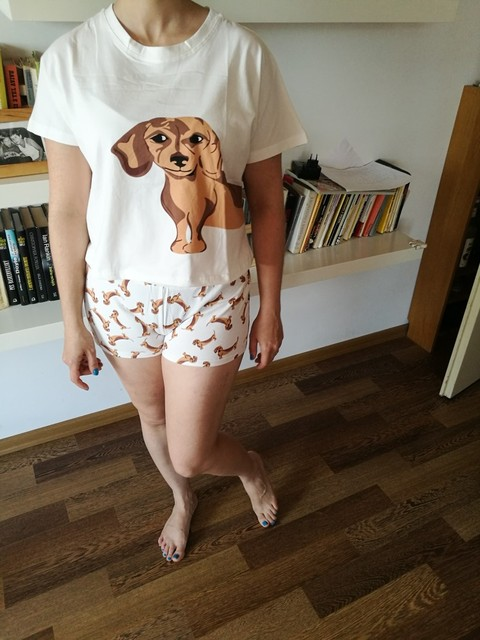Cute Women Pajamas Nightwear Dachshund Print Dog 2 Pieces Set Short Sleeve Top Elastic Waist Shorts Plus Size Pijamas S75605 L 1