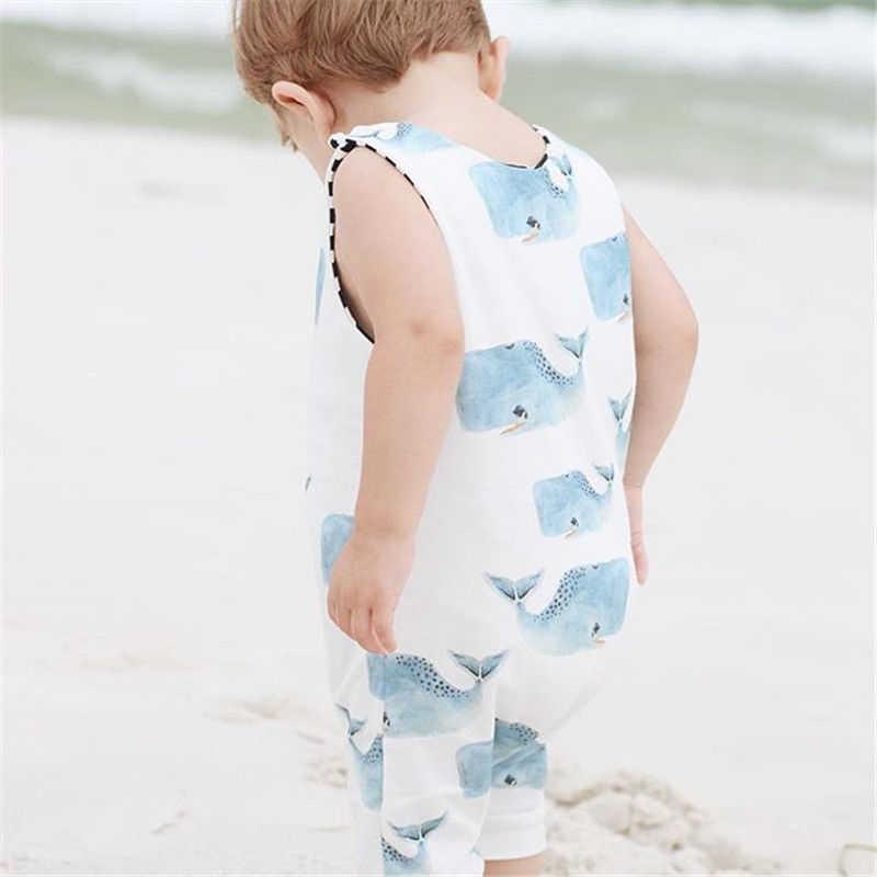 Pudcoco Pasgeboren Baby Baby Jongens Meisjes Whale animal print Romper katoen mouwloze zomer meisje Jumpsuit Rompertjes Outfit Kleding