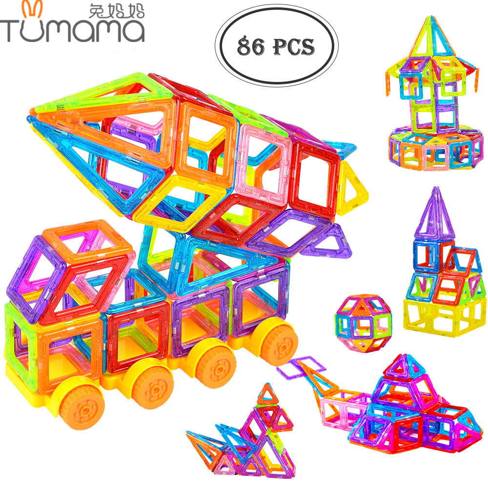 Tumama 86pcs 3D Magnetic Blocks Building Mini Size Educational Toys Plastic Enlighten Kids DIY Bricks Designer Construction Set 162pcs big size magnetic designer construction building blocks toys technic plastic blocks assembly children enlighten bricks