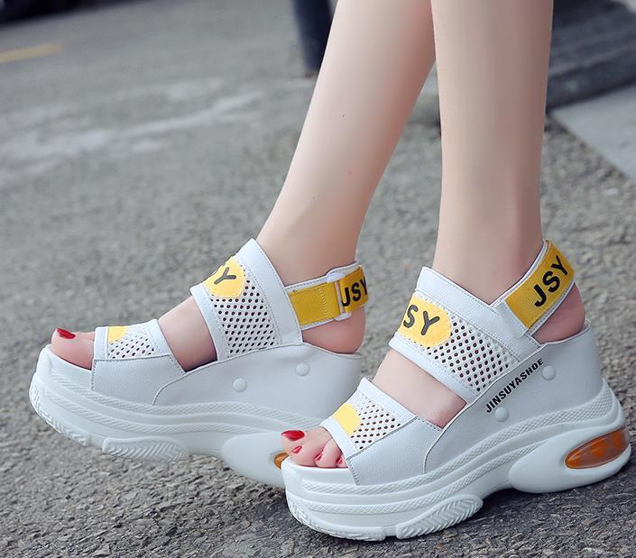 Y Plataforma Gancho Cuña Tacón 10 Negro 5 Zapatillas oro Mujer Mujer Alto Zapatos Verano blanco Bucle Cuero Cm Mujeres Sandalias Las De w7IqP