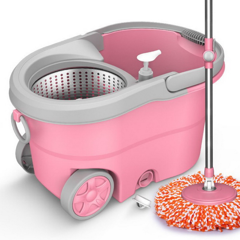 Spin Mop Bucket Portable Magic Double Drive Stainless Steel Hand Pressure Rotating with Head Household Floor Cleaning Set