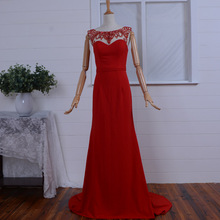 2015 new hot style red long evening dress elegant Formal gown chiffon real photos sexy mermaid crystal beading prom dresses