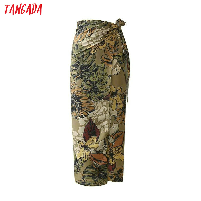 Tangada Women Flower Print Pencil Skirts Beach Bow Tie Mid Calf Lenght Fashion Ladies Brand Vintage High Waist Skirts XD234