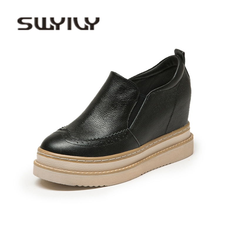 SWYIVY Genuine Leather Wedge Shoes Woman Sneakers Platform 2019 Autumn Chunky Sneakers Women Casual Shoes Slip On Ladies Shoe