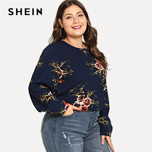 cf73a771eb20c SHEIN Navy Floral Print Long Sleeve Plus Size Womens Blouse Spring Autumn  Workwear O Neck Curved Hem Flower Top Blouses