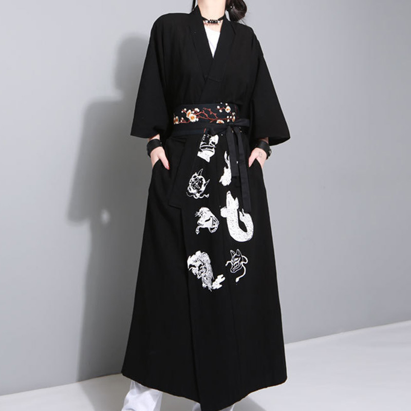 [AZURE SHEN] 2017 Summer Autumn Loose Big Size Dress Fashion New Print Cardigan Three Quarter Coat Black White 2 Color F00100