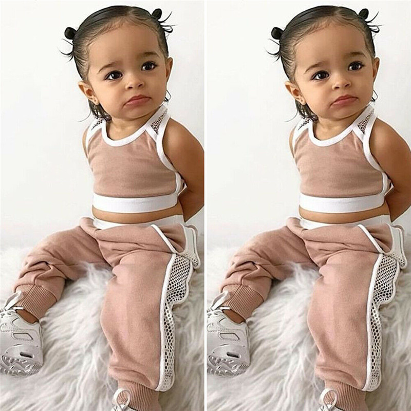 Summer 2pcs Outfits 2019 Pudcoco Newborn Infant Baby Girl Clothes Crop Tops Vest Long Pants Tracksuits Baby Girl Clothing