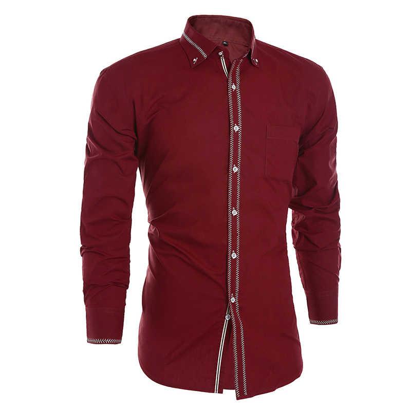 JeeToo белая мужская футболка 2019 новая деловая Мужская классическая рубашка мужская однотонная с длинными рукавами Casua Свадебная рубашка плюс размер 3XL